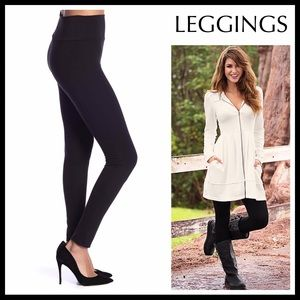BLACK LEGGINGS SKINNY FITTED KNIT PANTS A2C